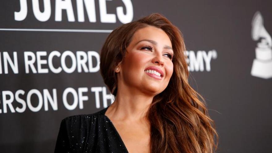 La cantante y compositora mexicana Thalia llega a la gala Persona del Año de la Academia Latina de la Grabación 2019 en el MGM Grand Conference Center en Las Vegas, Nevada, EE. UU., el 13 de noviembre de 2019.