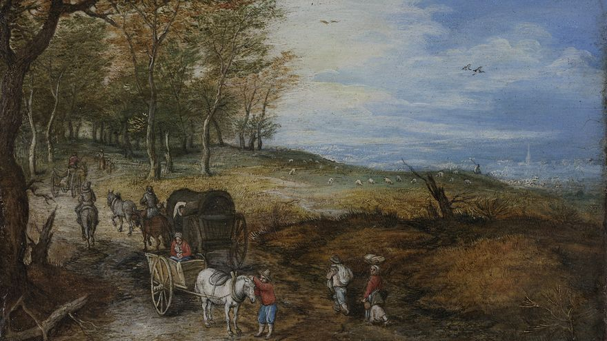 Viajeros con coches en una carretera de campo, Jan Brueghel el viejo (ca. 1610) , cortesía Arthemisia España