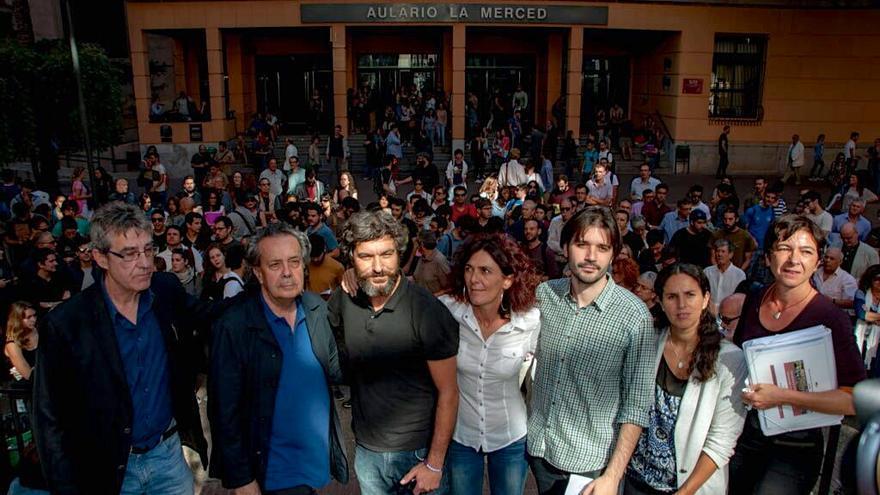 Los responsables del nuevo círculo universitario de Podemos en el campus de la Merced de la UMU