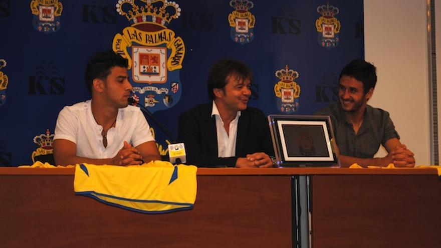 Herner y Guerra, junto a Toni Cruz, en la presentación de los jugadores.