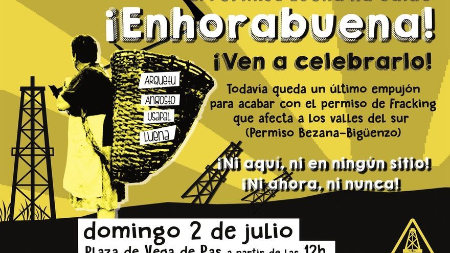 La Asamblea contra el Fracking convoca una fiesta-celebración por la extinción del permiso 'Luena'