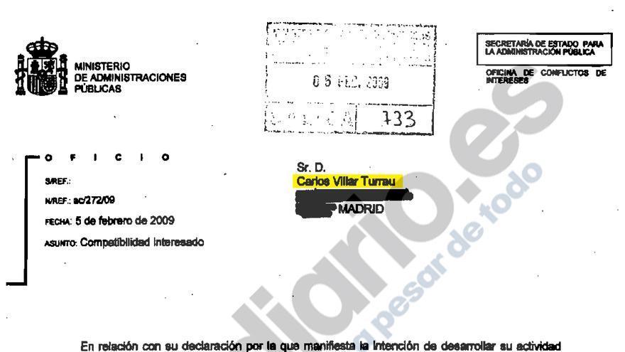 Autorización a Carlos Villar para trabajar en Santa Bárbara Sistemas por la Oficina de Conflicto de Intereses