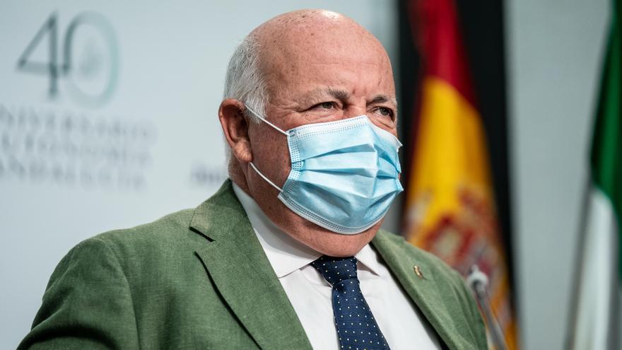El consejero de Salud y Familias, Jesús Aguirre , comparece en la rueda de prensa posterior a la reunión del Consejo de Gobierno a 29 de junio 2021, en Sevilla (Andalucía) (Foto de archivo).