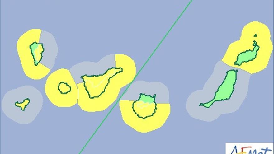 Mapa de riesgo por viento y fenómero costero de la Aemet para el miércoles y el jueves.