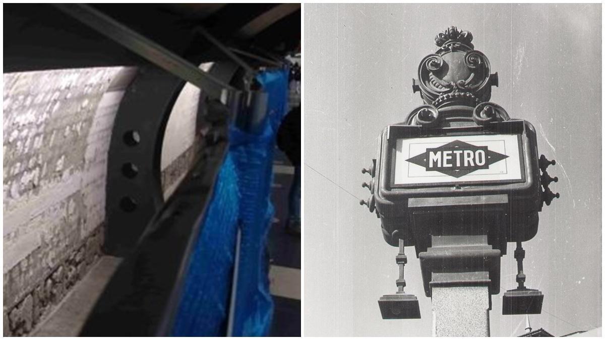 Azulejos retirados durante las obras en Cuatro Caminos y modelo de farola histórico de Metro
