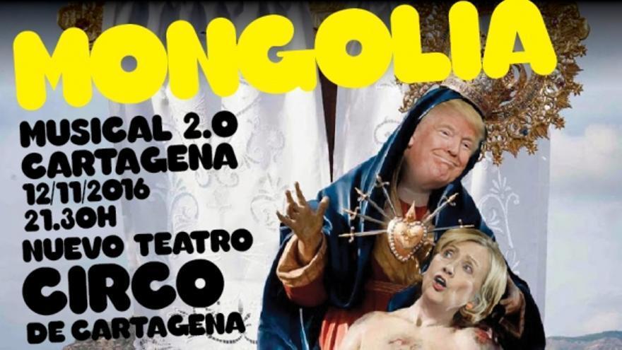 Otro cartel promocional de Mongolia para la actuación en Cartagena.