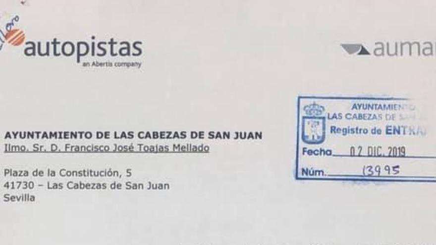 Carta recibida por el Ayuntamiento de Las Cabezas de San Juan