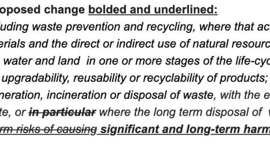 Cambios en la redacción sobre los residuos nucleares de la taxonomía para inversiones verdes.