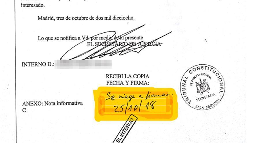"""""""Se niega a firmar"""": Instituciones Penitenciarias reprocha a un preso analfabeto la notificación de un escrito"""
