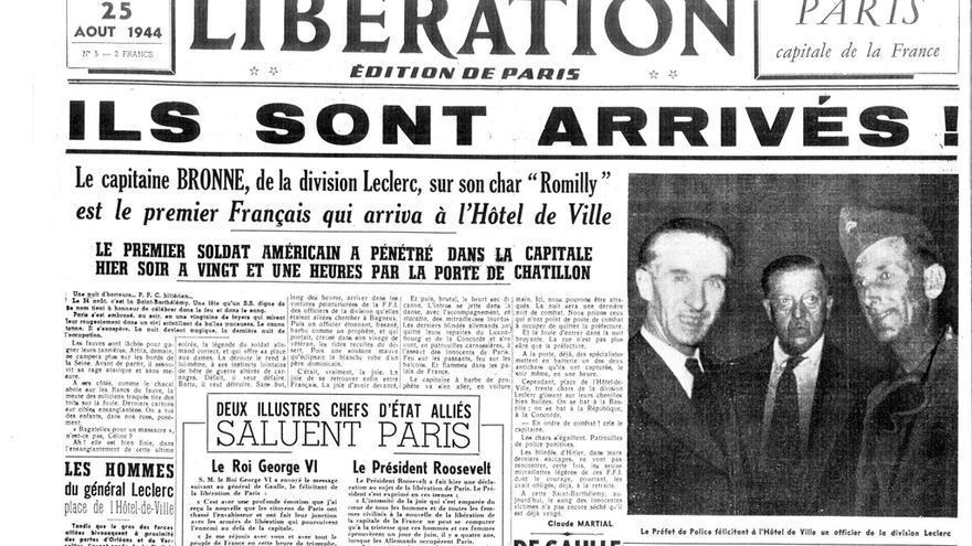 Portada del periódico francés Libération tras la liberación de París, con Amado Granell el primero por la derecha
