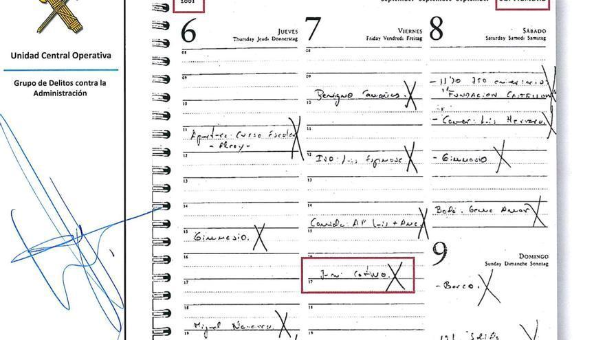 Anotación en la agenda de Zaplana de una reunión con Juan Cotino el 7 de septiembre del 2001.