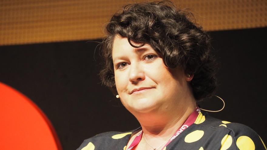 Laura Higgins, experta en seguridad digital, duranta su charla en el Gamelab 2019