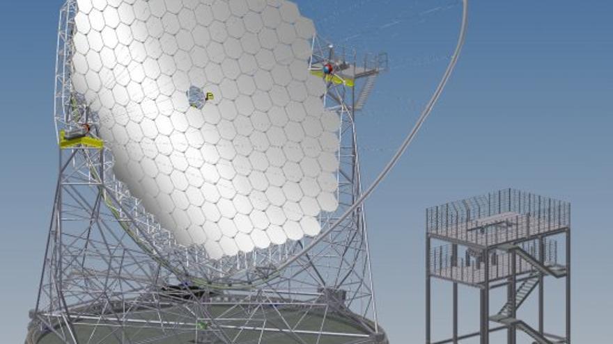 Modelo del LST.  Crédito: MERO-TSK, International; Instituto Max Planck de Física, Múnich.