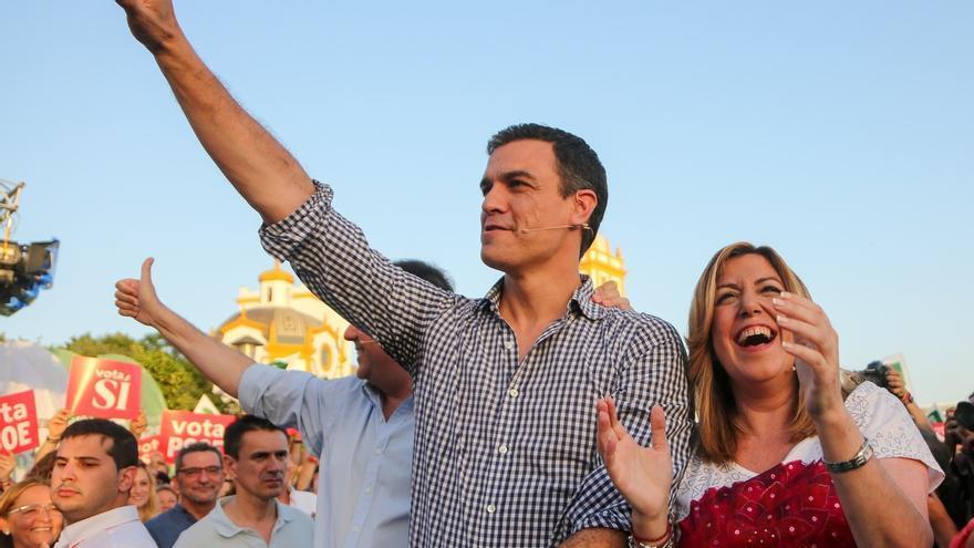 Pedro Sánchez y Susana Díaz en el mitin del PSOE.