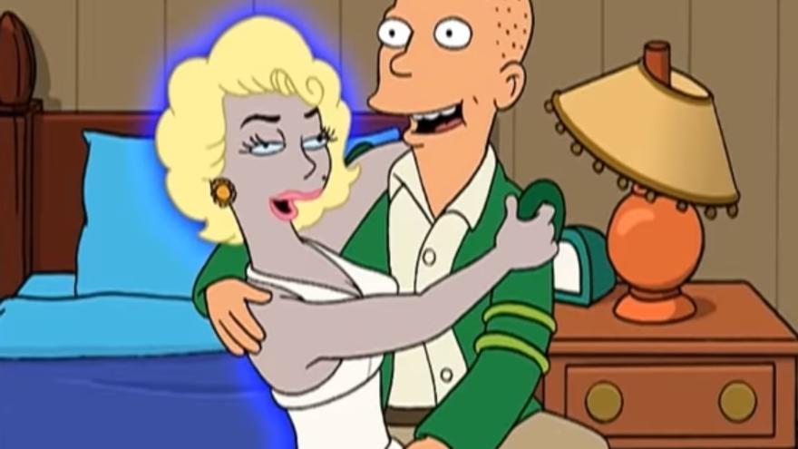 """Una escena de la serie Futurama, donde se aconseja """"no tener citas con robots"""""""