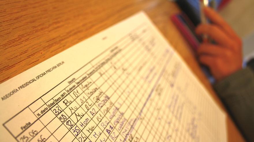 Oficina Precaria, pero no desorganizada: los activistas llevan una estadística de sus usuarios
