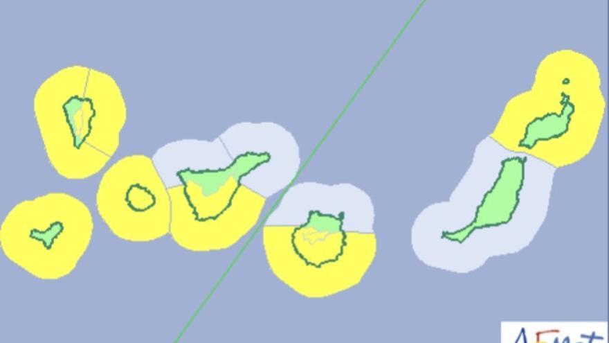 Mapa de la Aemet del aviso de riesgo por viento y oleaje este fin de semana.