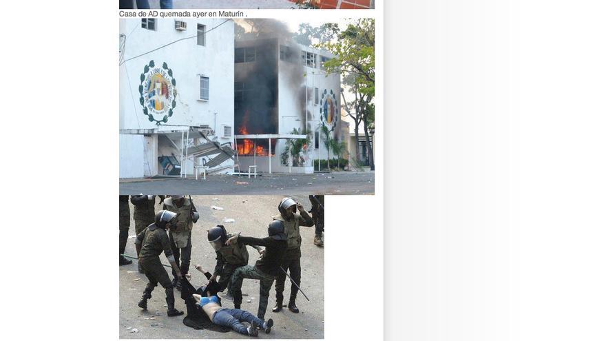 La represión egicia, entre fotos supuestamente recientes de los abusos policiales en Venezuela.