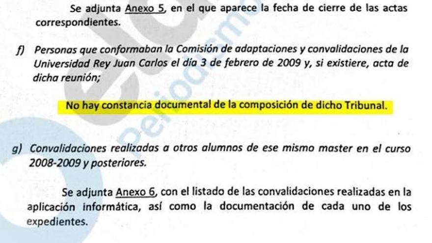 La Universidad informa a la jueza de que no hay rastro del tribunal ni del acta de convalidaciones de Pablo Casado