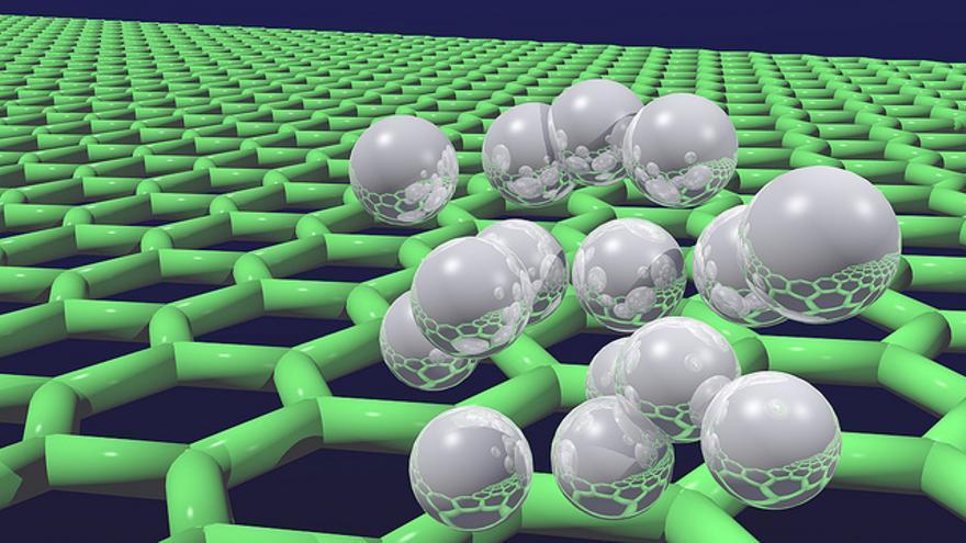 La estructura de las láminas de grafeno se despliega con forma hexagonal, como un panal