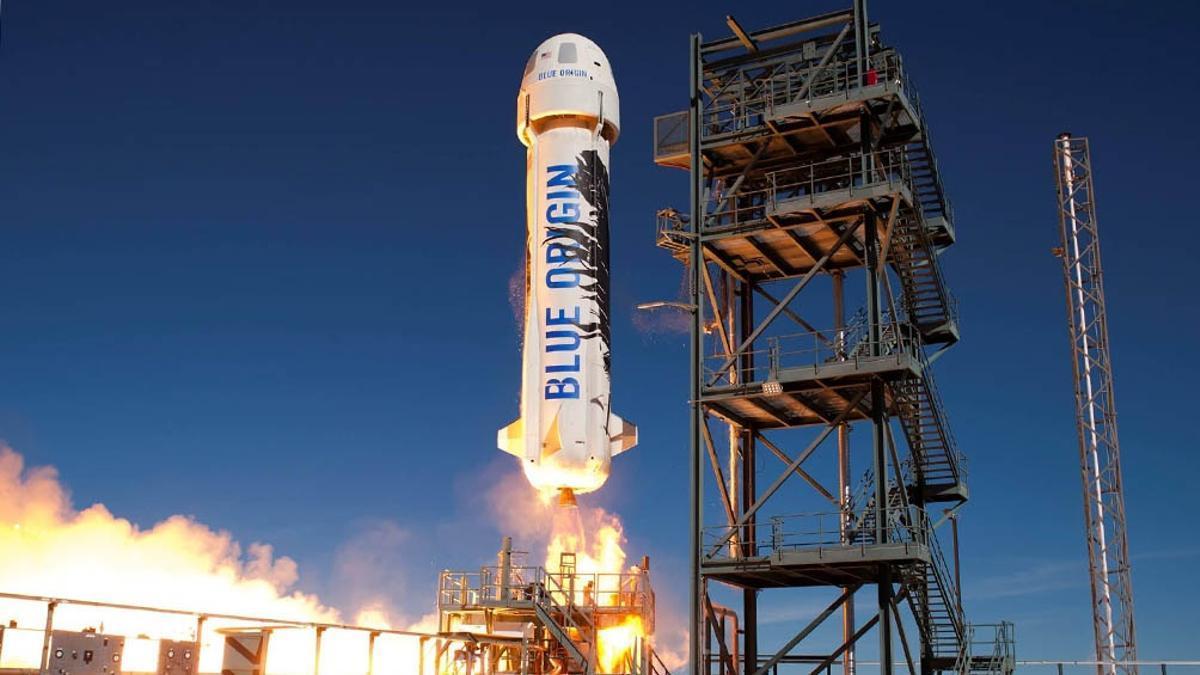 La nave de Blue Origin en la que Jeff Bezos fue lanzado al espacio