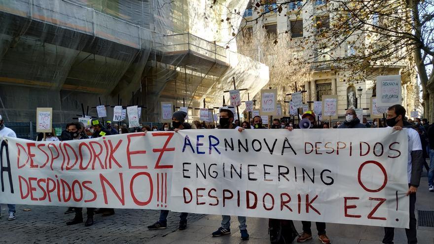 Concentración de trabajadores de Aernnova