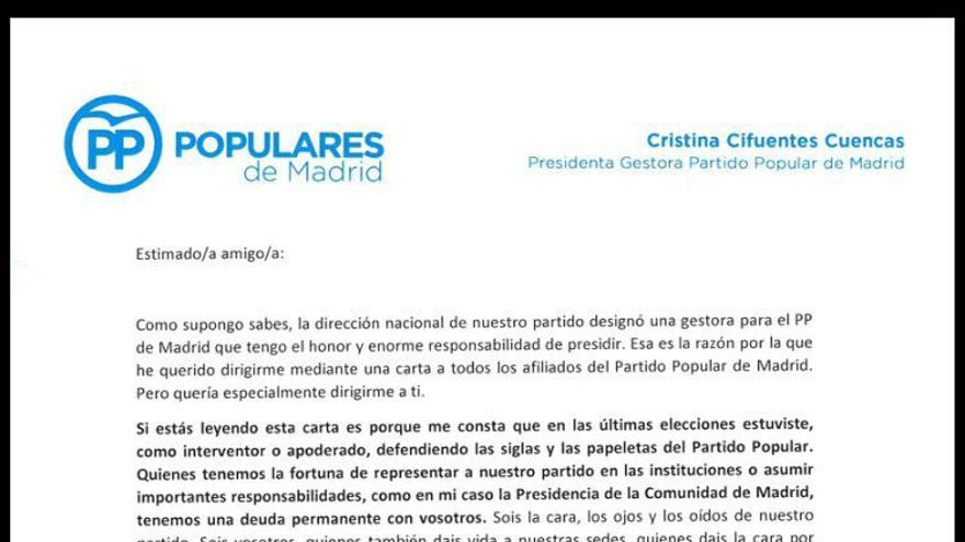 Carta de Cristina Cifuentes a la militancia.