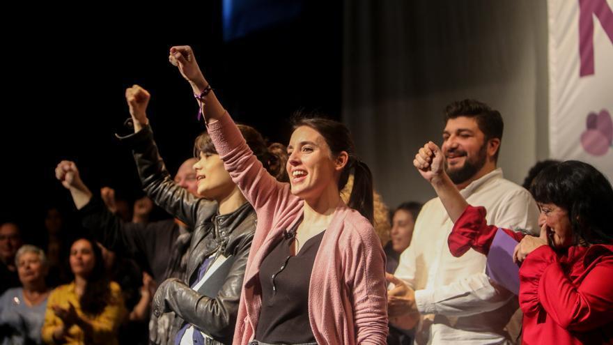 Irene Montero en un acto de Unidas Podemos en Pozuelo de Alarcón (Madrid).