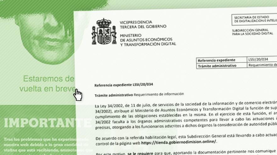 El Ministerio de Economía da 10 días a los promotores de la tienda online de 'Gobierno Dimisión' para que se identifiquen según la ley
