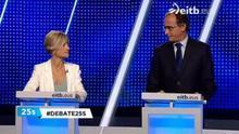 La mirada silenciosa entre Zabala y Alonso durante el debate de los candidatos a lehendakari