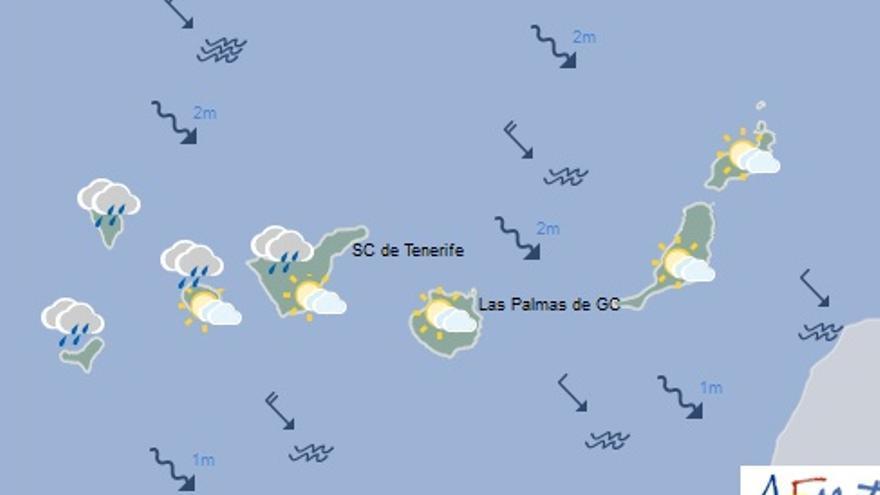 Mapa con la previsión del tiempo para este domingo, 23 de octubre