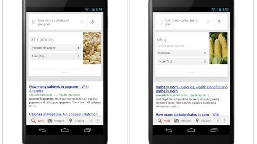Google muestra el valor nutricional