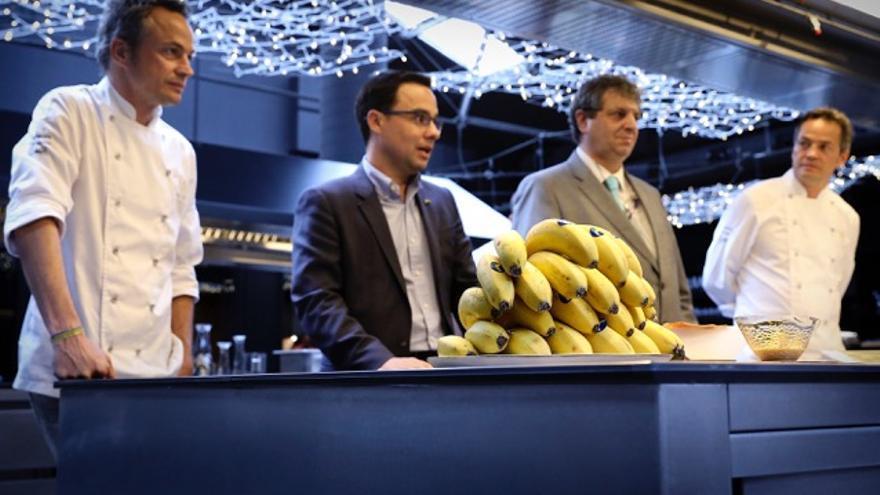 Presentación de la iniciativa culinaria con el plátano de Canarias, este viernes en Barcelona