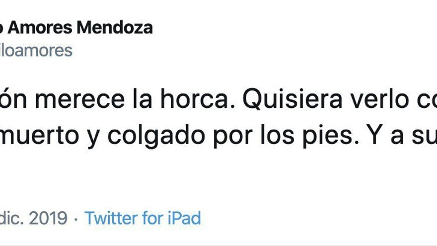 Tuit del concejal de Vox Teófilo Amores Mendoza