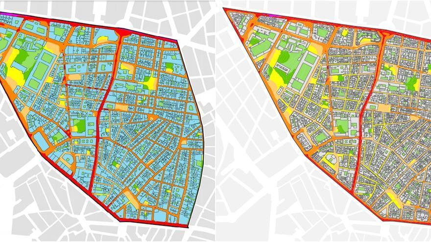 Niveles de ruido nocturno en Malasaña durante 2011 (izquierda) y en 2016 (derecha) | AYUNTAMIENTO DE MADRID