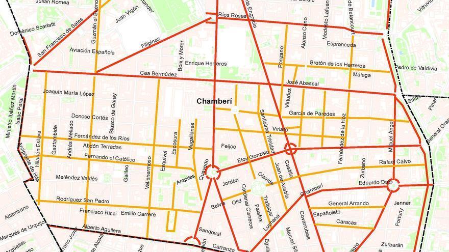 Listado de calles que serán limpiadas cada día (en naranja) y las que ya son limpiadas actualmente (en rojo)   AYUNTAMIENTO DE MADRID