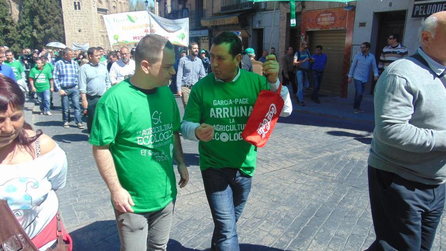 El diputado de Podemos David Llorente, durante la manifestación