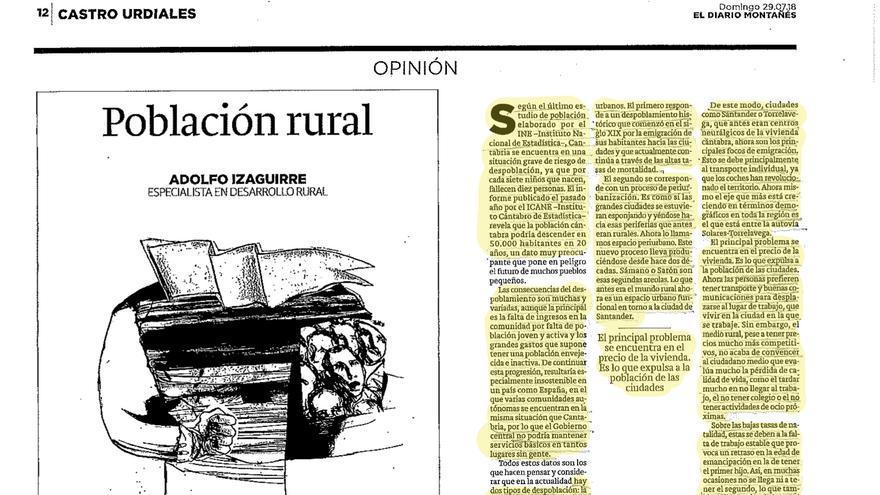 Artículo publicado por Adolfo Izaguirre en El Diario Montañés. En amarillo, el texto plagiado de eldiario.es.