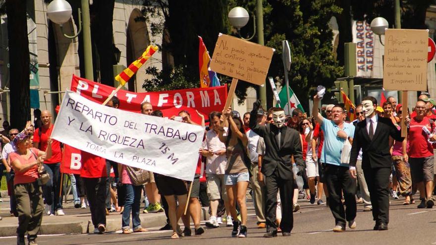Los manifestantes de Castilla y León, en el Paseo de la Castellana de Madrid. S.Herrero
