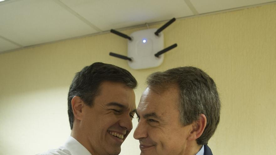 Pedro Sánchez y Zapatero, juntos hoy en un mitin en Valladolid