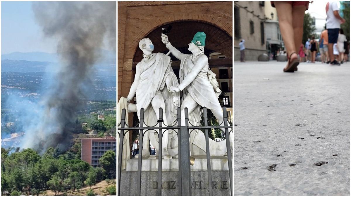 Incendio en la Dehesa, Daoíz y Velarde de botellón y agujeros en el pavimento de Arenal