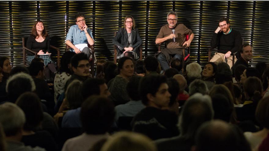 Yayo Herrero, Íñigo Errejón, Rudy Gnutti y Jorge Moreno en el coloquio posterior a la presentación del documental.
