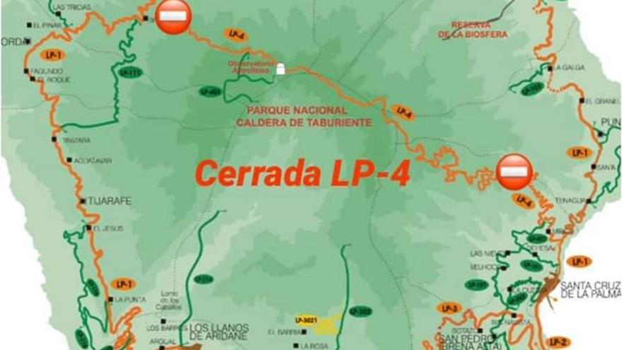 Mapa del cierre de la vía LP-4.