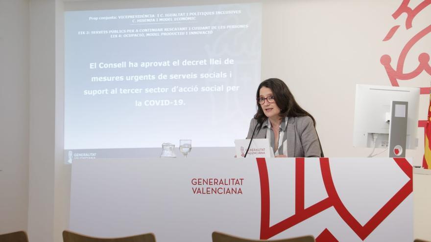 La vicepresidenta de Consell, Mónica Oltra, durante la rueda de prensa posterior al pleno.