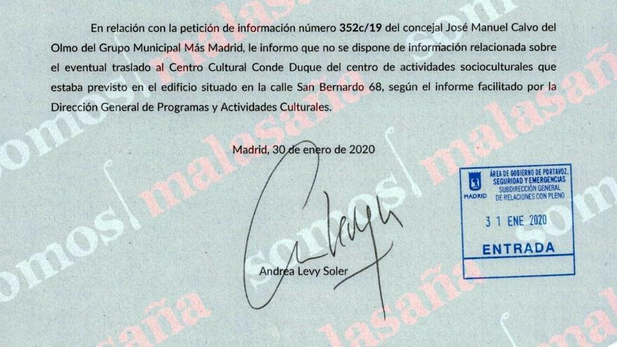 Respuesta de Cultura a la pregunta de Más Madrid sobre San Bernardo 68   SOMOS MALASAÑA