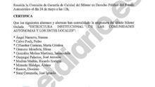 Acta de convalidaciones del máster de Cifuentes con el listado de alumnos