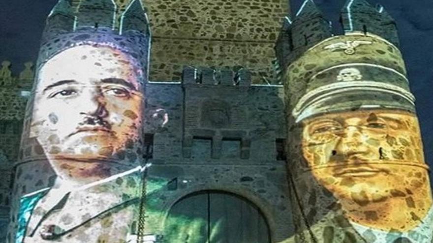 Proyección de las imágenes de Franco y Himmler en la Jornadas Visigodas de Guadamur / Twitter