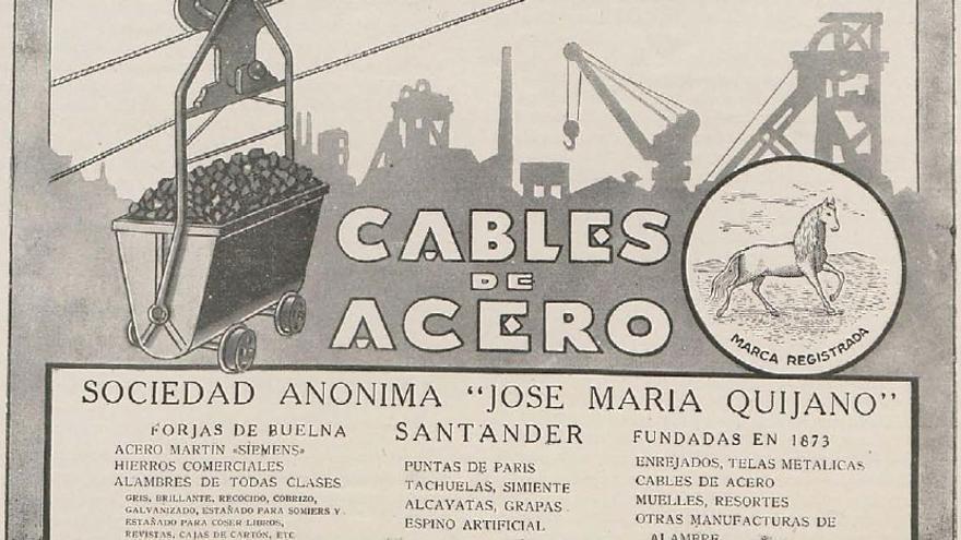 Anuncio publicitario de Las Forjas de Buelna. La jaca blanca Espartero se convirtió en la imagen de marca de la empresa.