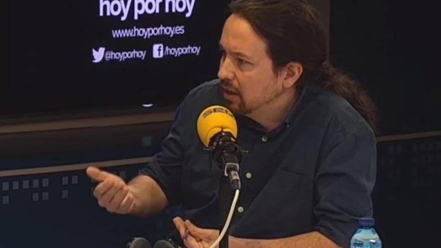 Pablo Iglesias durante su entrevista en el programa Hoy por Hoy de la Cadena SER