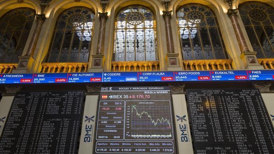 La banca frena a la Bolsa española, que sube el 0,48 % a mediodía